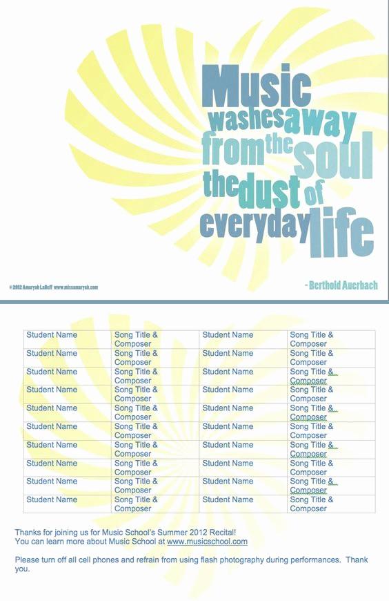 Music Recital Program Templates Free Fresh More Free Customizable Recital Program Templates