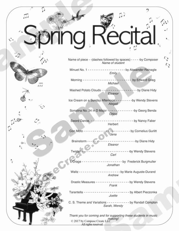 Music Recital Program Templates Free Fresh Spring Recital Program Template Program Invitation