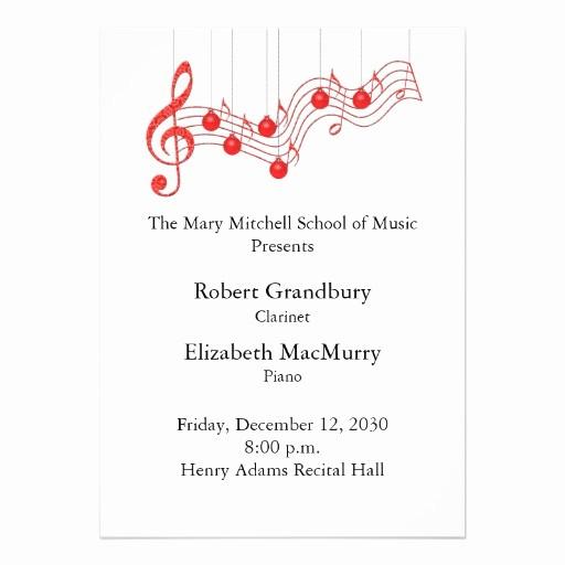 Music Recital Program Templates Free Luxury Holiday Musical Recital Program 5x7 Paper Invitation Card