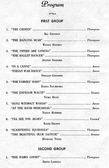 Music Recital Program Templates Free Luxury Piano Recital 1961