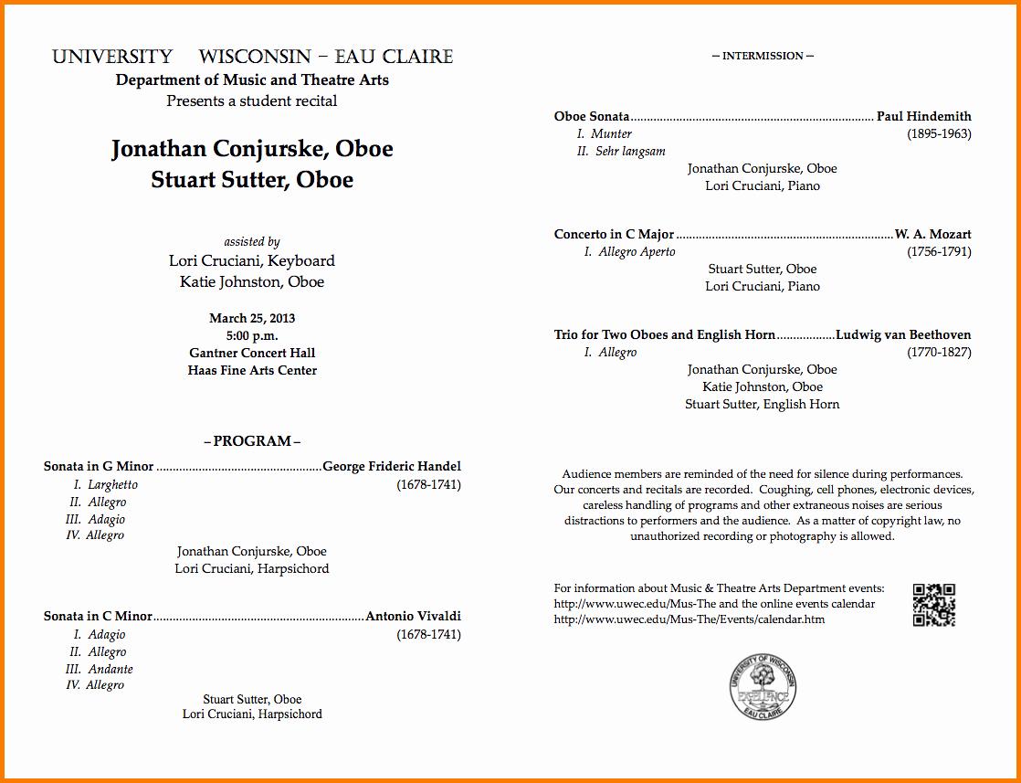 Music Recital Program Templates Free New Music Program Template
