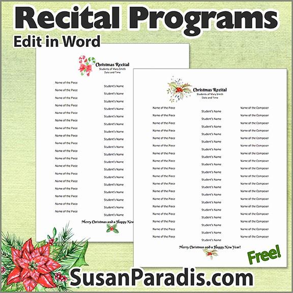 Music Recital Program Templates Free New Recital Program Templates to Personalize Susan Paradis