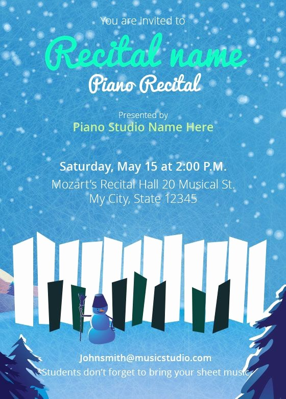 Music Recital Program Templates Free New Winter Piano Recital Invitations