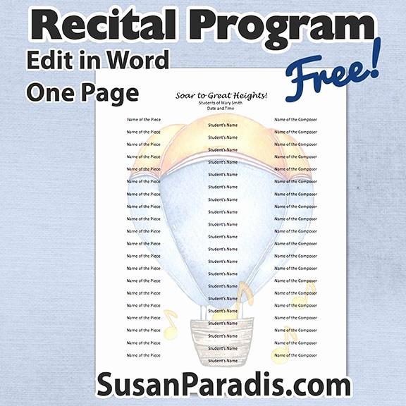 Music Recital Program Templates Free Unique Teaching Business Archives Susan Paradis Piano Teaching