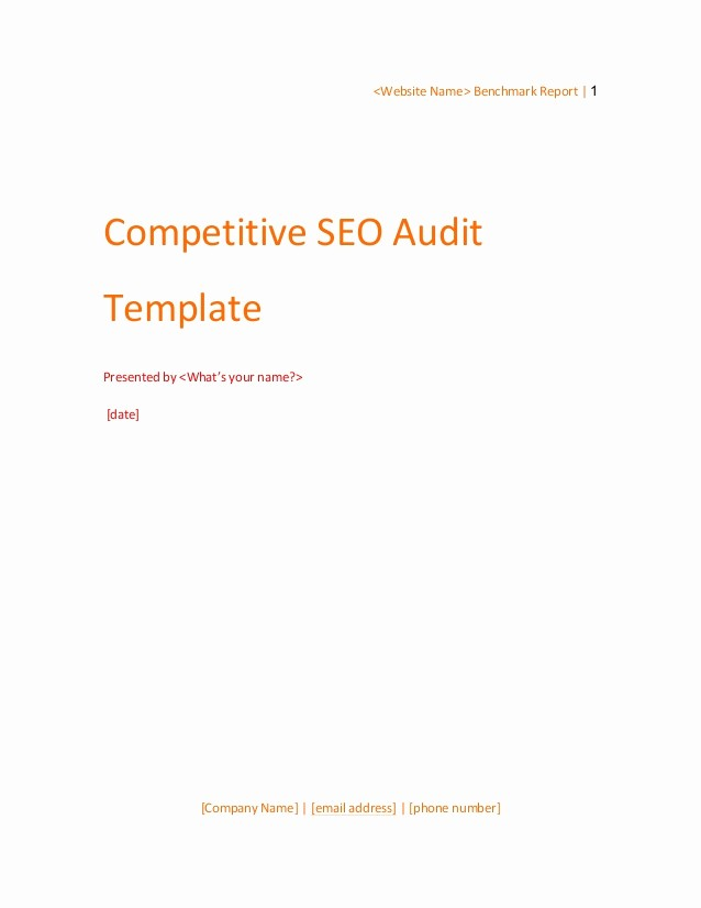 Name Email Phone Number Template Beautiful Petitive Seo Audit Template