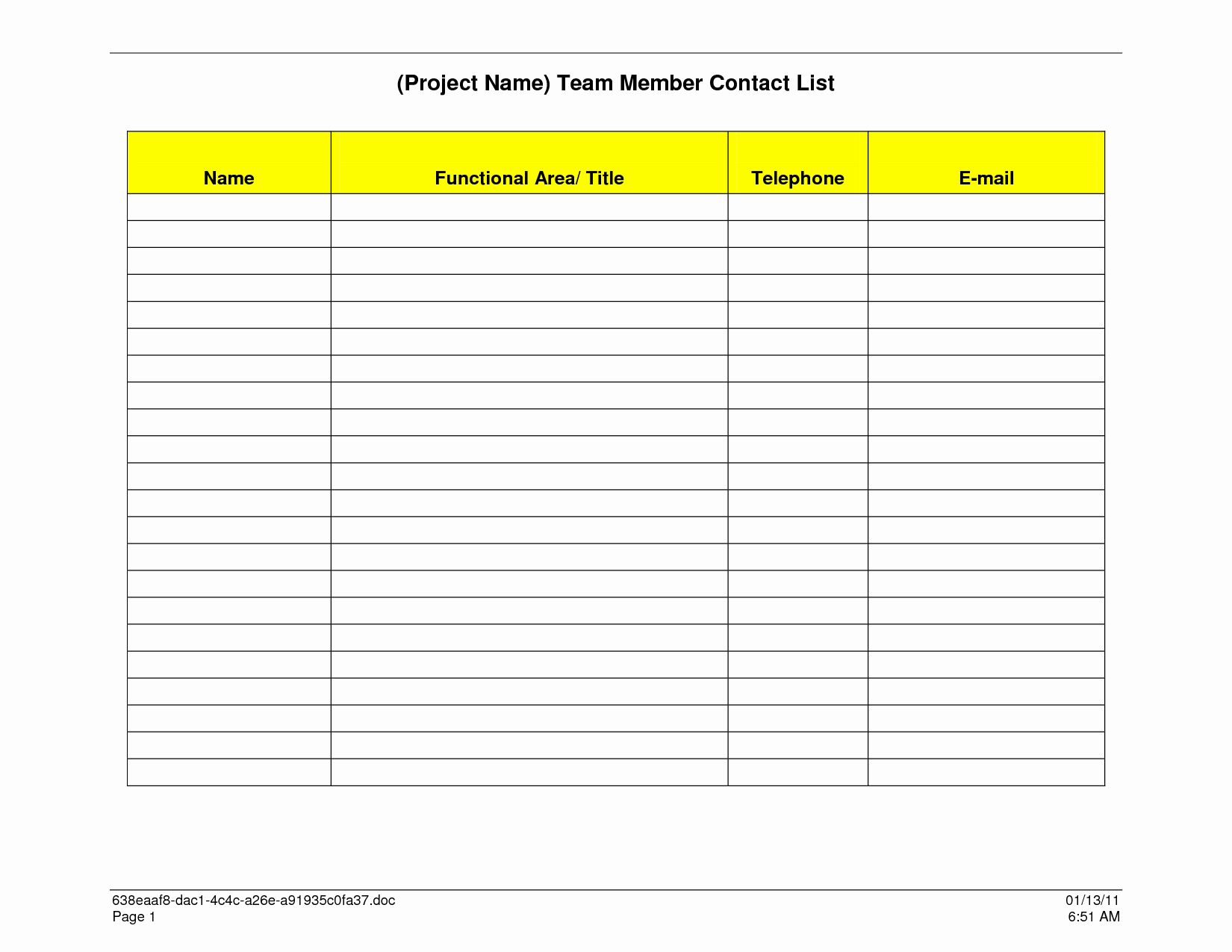 Name Email Phone Number Template Best Of 7 Best Of Free Printable Business Contact List