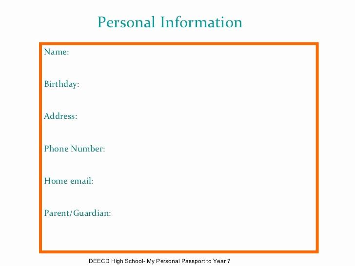 Name Email Phone Number Template Elegant Sample Passport Template