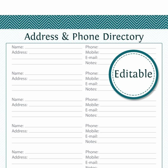Name Email Phone Number Template Luxury Address & Phone Directory Fillable Printable Pdf Instant
