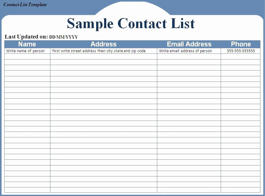 Name Email Phone Number Template Luxury Contact List Template