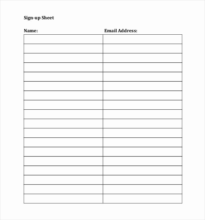 Name Email Sign Up Sheet Awesome Sign Up Sheets 58 Free Word Excel Pdf Documents