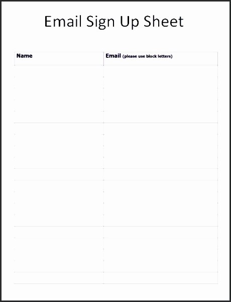 Name Email Sign Up Sheet Beautiful Email Sign Up Sheet Template – Flirty