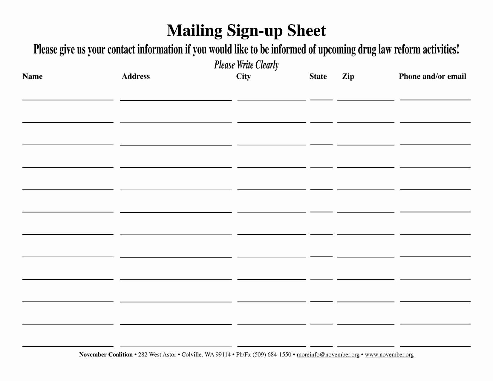 Name Email Sign Up Sheet Inspirational Best S Of Email Sign Up Sheet Template Free