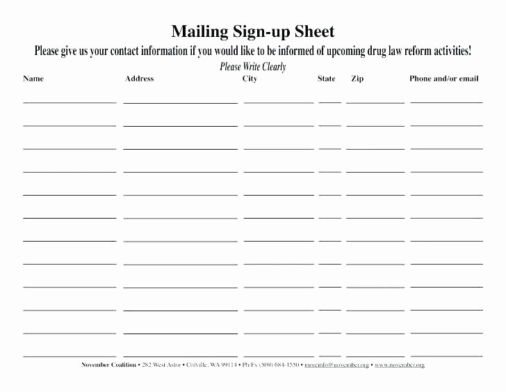 Name Email Sign Up Sheet Lovely E Mail Sign Up Sheet