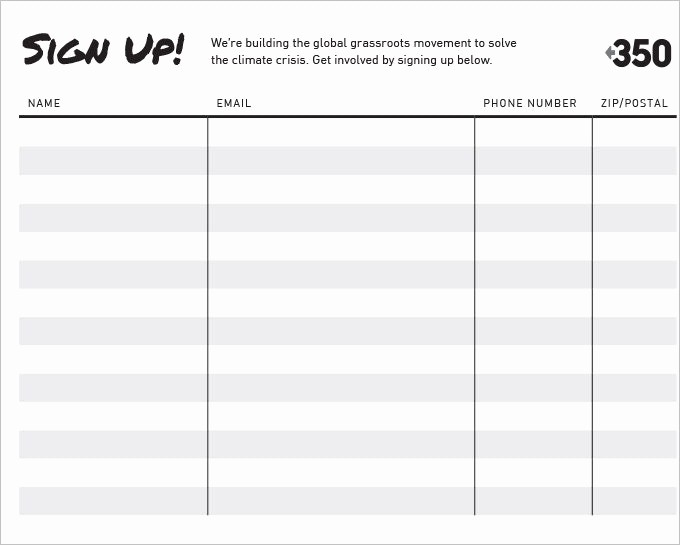Name Email Sign Up Sheet Unique Sign Up Sheet Template Name Email Phone Number