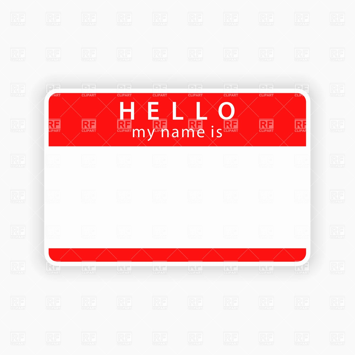 "Name Plate Template for Word Luxury Blank Name Tag with Inscription ""hello"" Vector Image"