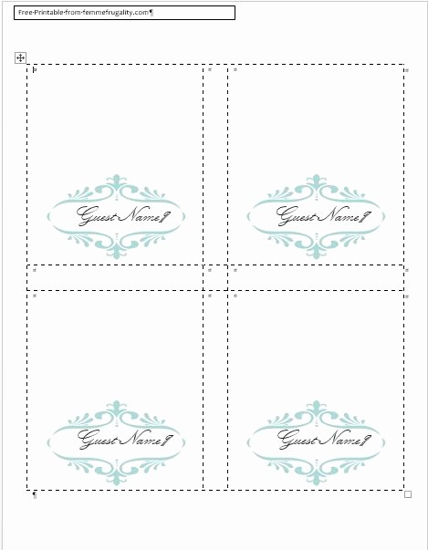 Name Tag Table Tent Template Inspirational 9 Best Of Place Card Template Word Diy Wedding