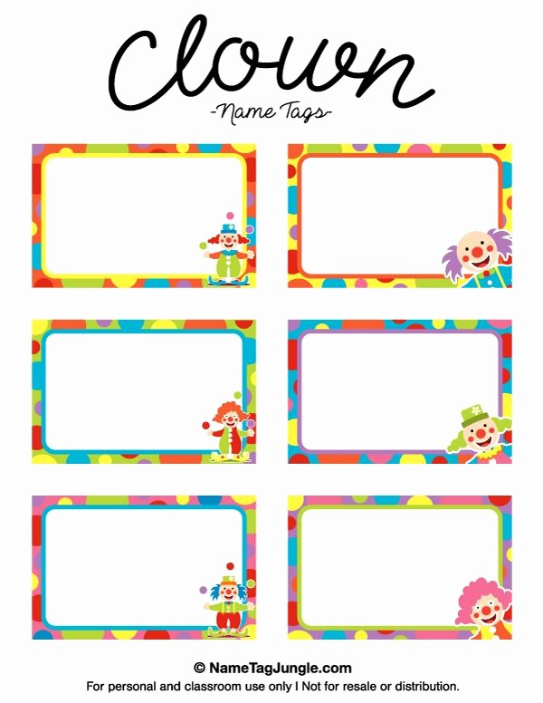Name Tag with Photo Template Best Of Free Printable Clown Name Tags the Template Can Also Be