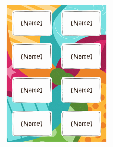 Name Tag with Photo Template Unique Name Badges Bright Design 8 Per Page Works with Avery