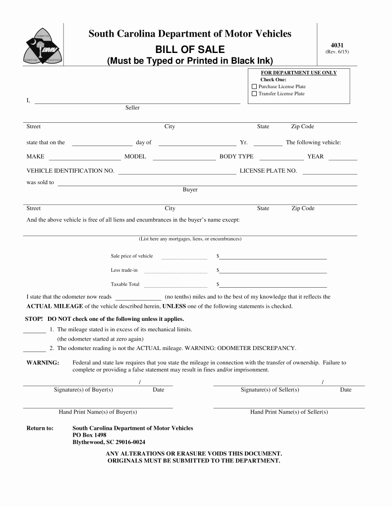 Nc Auto Bill Of Sale Elegant Bill Of Sale form Template Vehicle [printable]