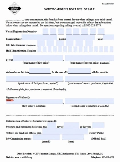 Nc Auto Bill Of Sale Fresh Free north Carolina Boat Bill Of Sale form Pdf