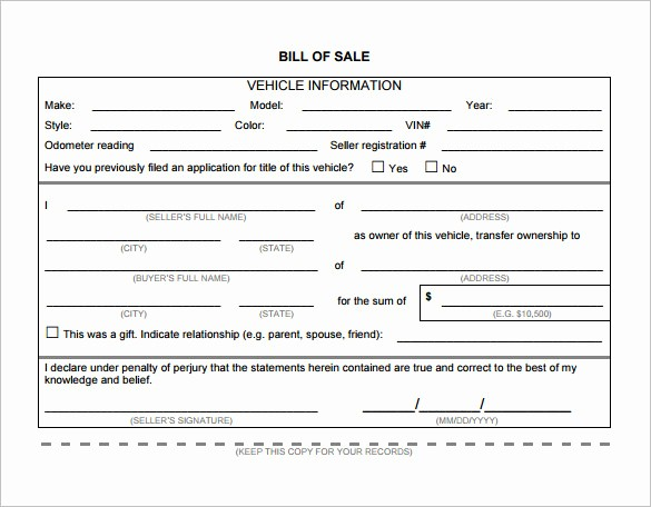 Nc Auto Bill Of Sale Inspirational Vehicle Bill Sale Template