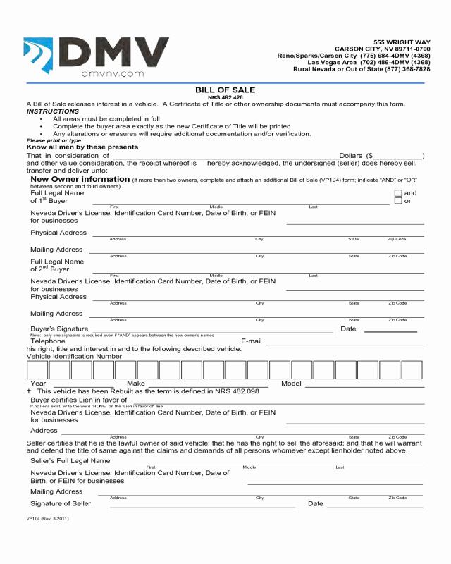 Nc Dmv Bill Of Sale Beautiful Bill Of Sale form Template Vehicle [printable]