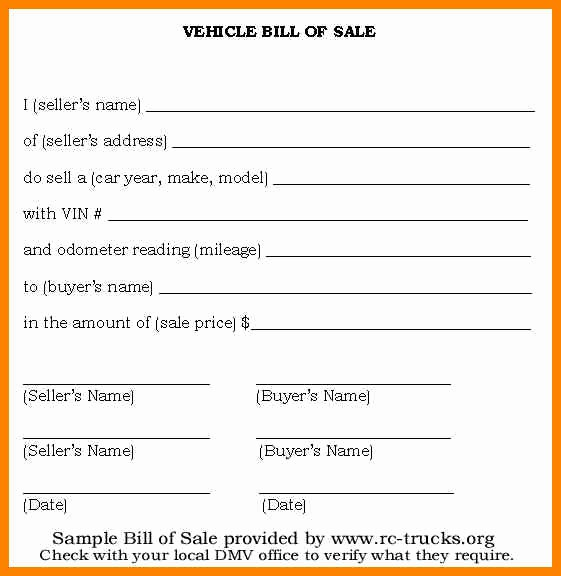 Nc Dmv Bill Of Sale Inspirational Bill Of Sale form Template Vehicle [printable]