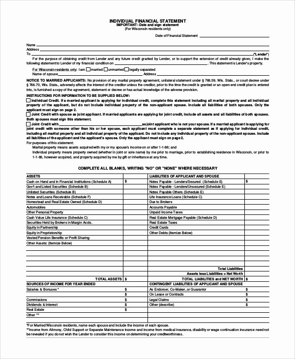 Net Worth Statement format Individual Beautiful 10 Sample Financial Statement forms