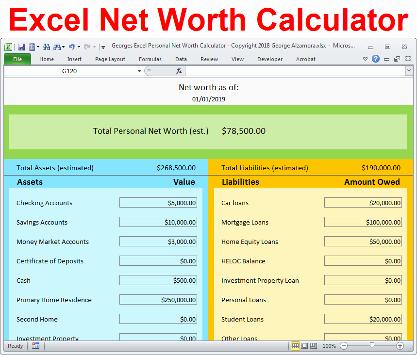 Net Worth Statement format Individual Beautiful Personal Net Worth Calculator Excel Spreadsheet