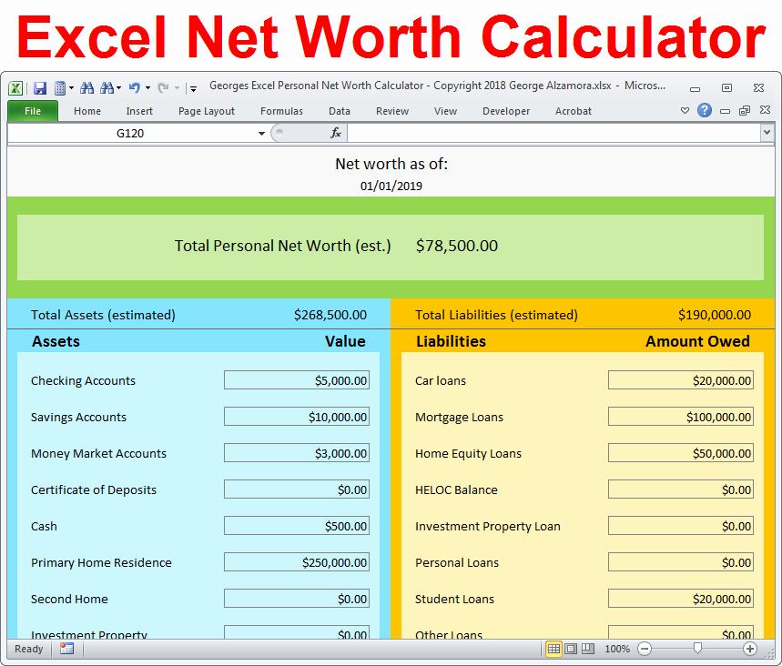 Net Worth Statement format Individual Beautiful Personal Net Worth Calculator Excel Spreadsheet