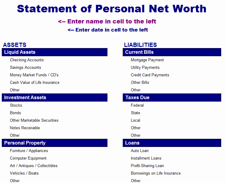 Net Worth Statement format Individual Lovely Statement Of Net Worth