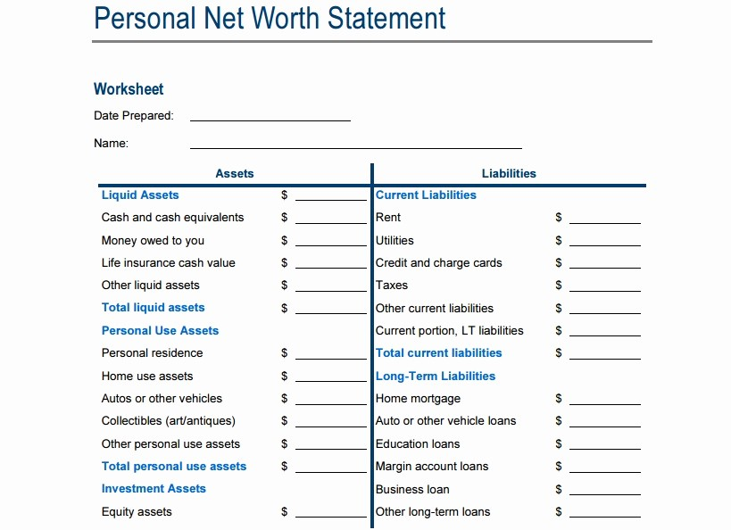 Net Worth Statement format Individual Luxury 4 Net Worth Statement Templates Excel Xlts