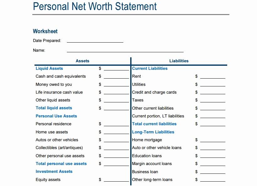 Net Worth Statement format Individual Luxury 4 Net Worth Statement Templates Excel Xlts