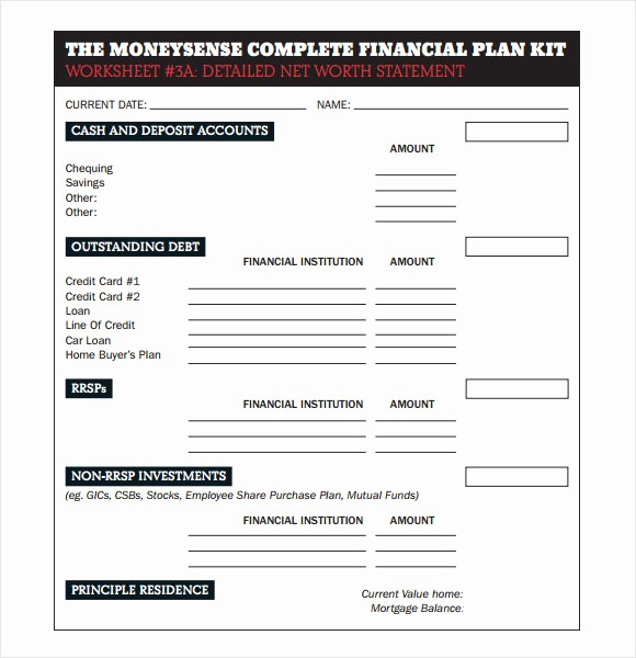 Net Worth Statement format Individual New Financial Plan Template 9 Free Samples Examples format
