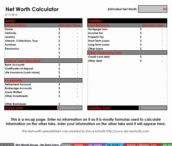 Net Worth Statement format Individual New Net Worth Calulation tool Dave Schultz