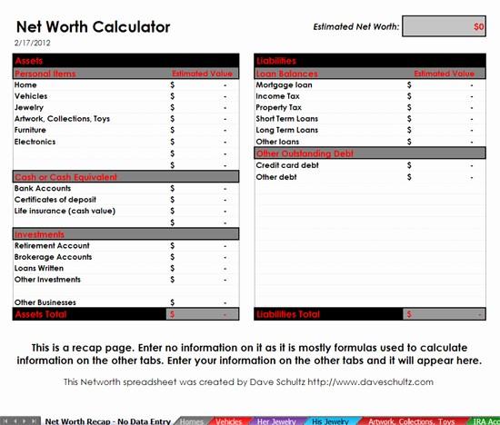 Net Worth Statement format Individual New Net Worth Calulation tool Dave Schultz