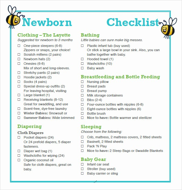 New Born Baby Check List Beautiful 9 Newborn Checklist Samples