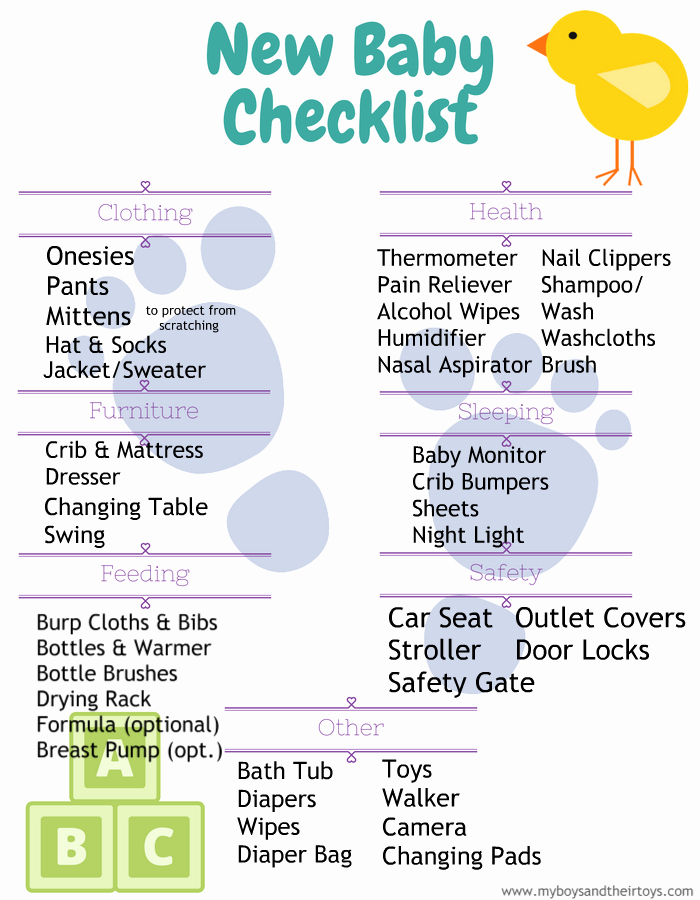 New Born Baby Check List Beautiful New Baby Checklist Printable My Boys and their toys