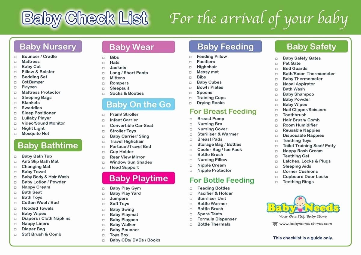 New Born Baby Check List Elegant Newborn Baby Check List