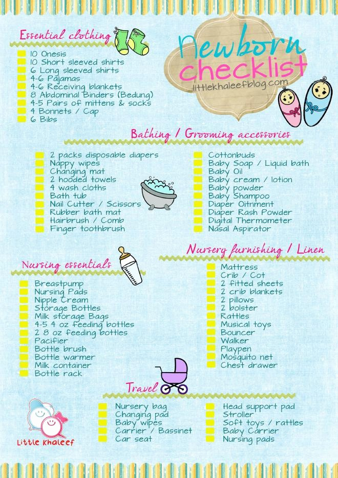 New Born Baby Check List Fresh Newborn Checklist