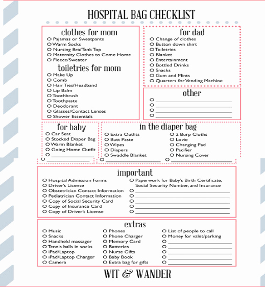New Born Baby Check List Inspirational Newborn Baby Hospital Bag Checklist