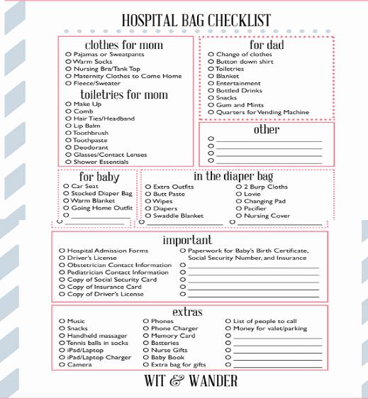 New Born Baby Check List Inspirational Newborn Baby Hospital Bag Checklist