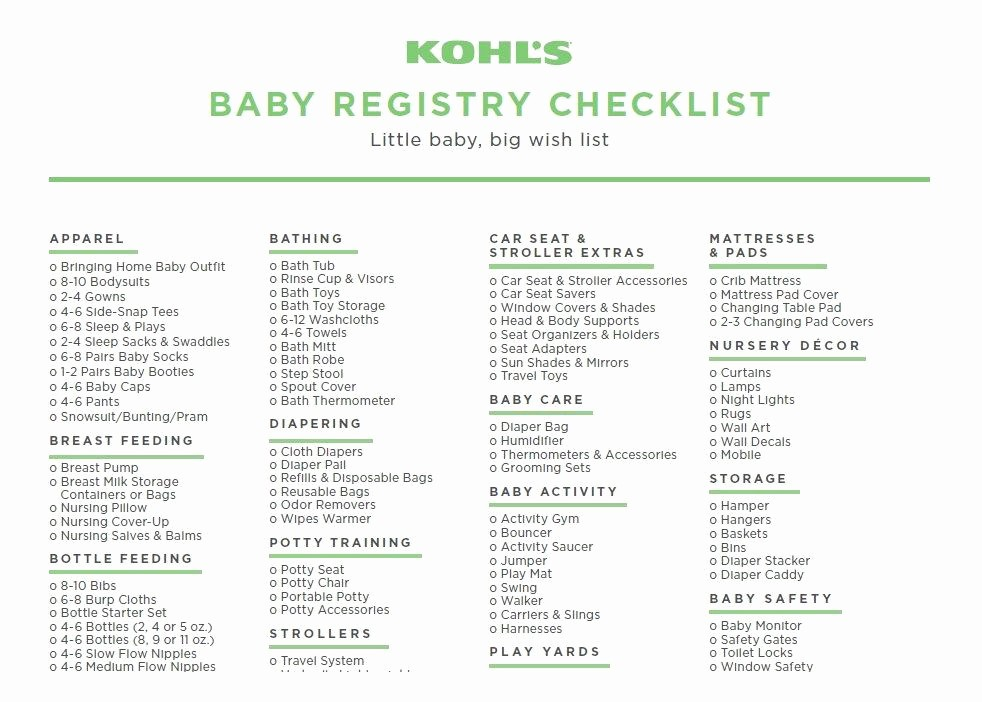 New Born Baby Check List Lovely 30 Baby Registry Checklists Newborn Baby Checklists
