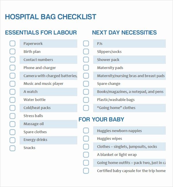 New Born Baby Check List Luxury 9 Newborn Checklist Samples