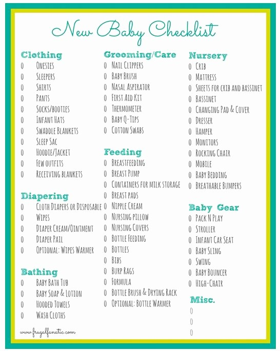 New Born Baby Check List Luxury Baby Checklist Free Printable Frugal Fanatic