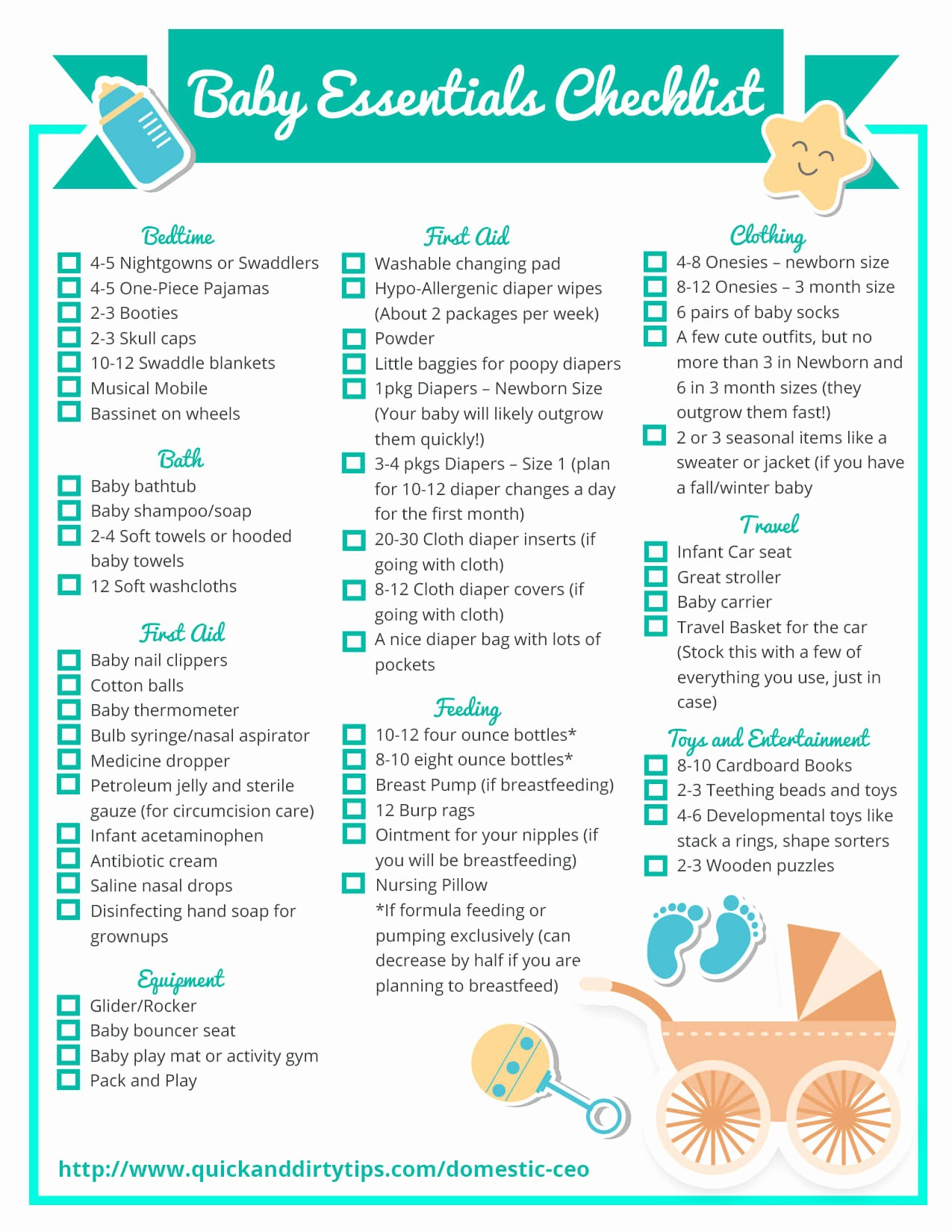 New Born Baby Check List New Essential Baby Items Checklist