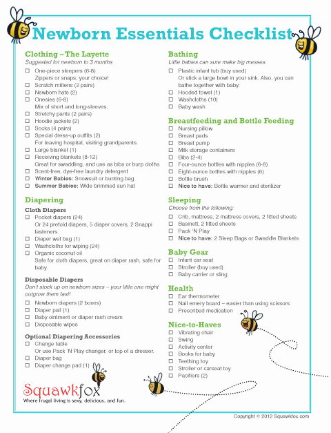 New Born Baby Check List New Newborn Checklist for Travelling Reading Craze