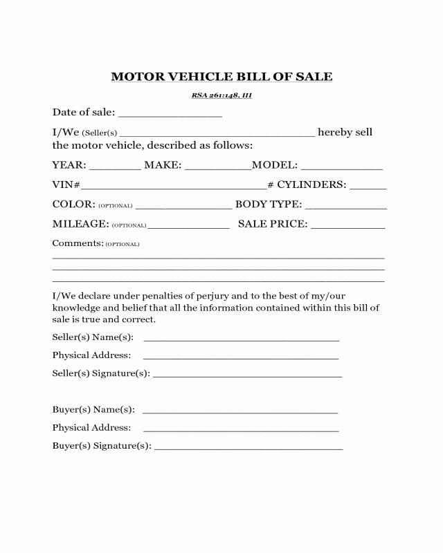 New Car Bill Of Sale Beautiful Motor Vehicle Bill Of Sale Template New Hampshire Edit