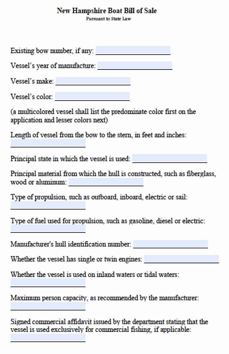 New Car Bill Of Sale Best Of Free New Hampshire Boat Bill Of Sale form Pdf