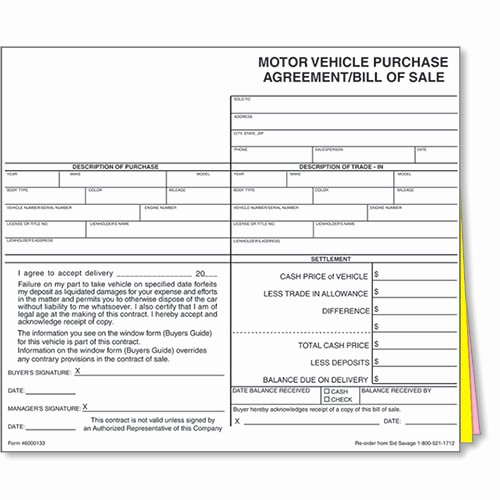 New Car Bill Of Sale Unique Auto Dealer Bill Of Sale forms Style 1